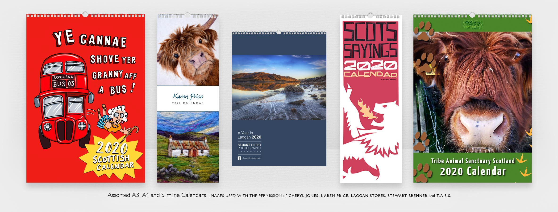 5 Calendars in different sizes all depicting artwork and illustrations from different Scottish artists