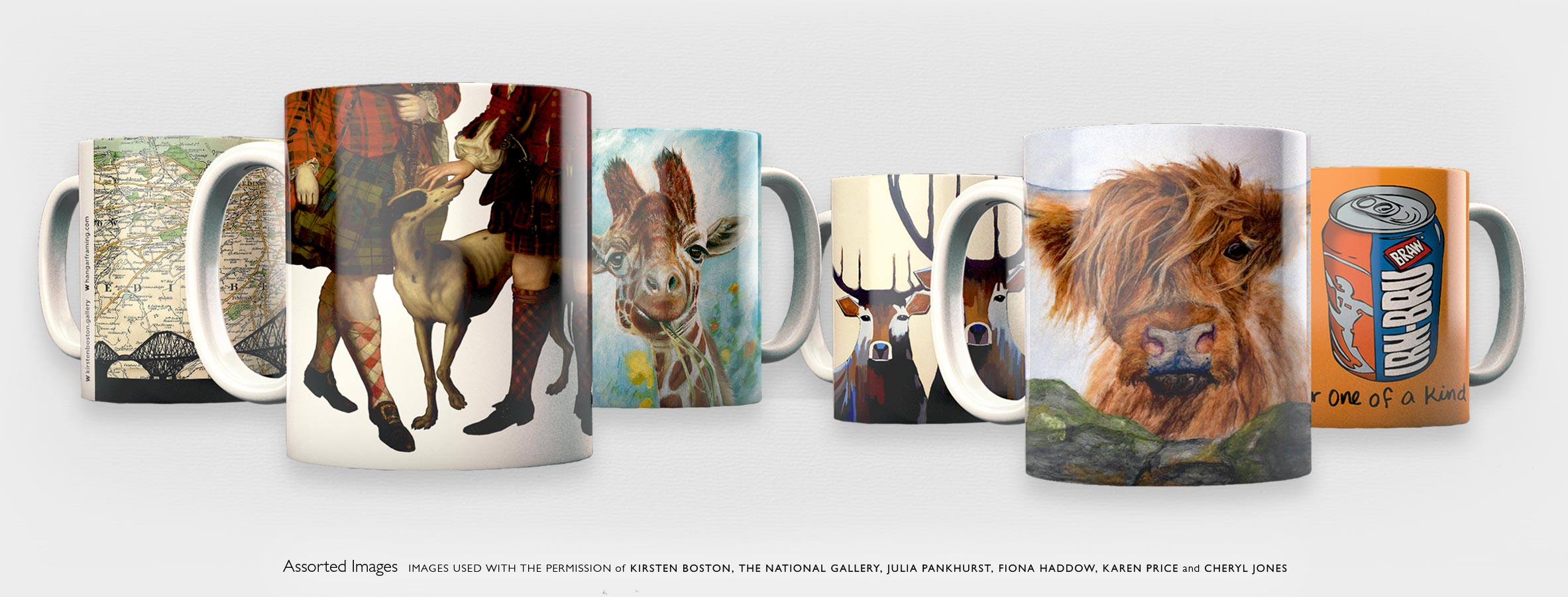 A selection of 6 mugs featuring images by Scottish artists