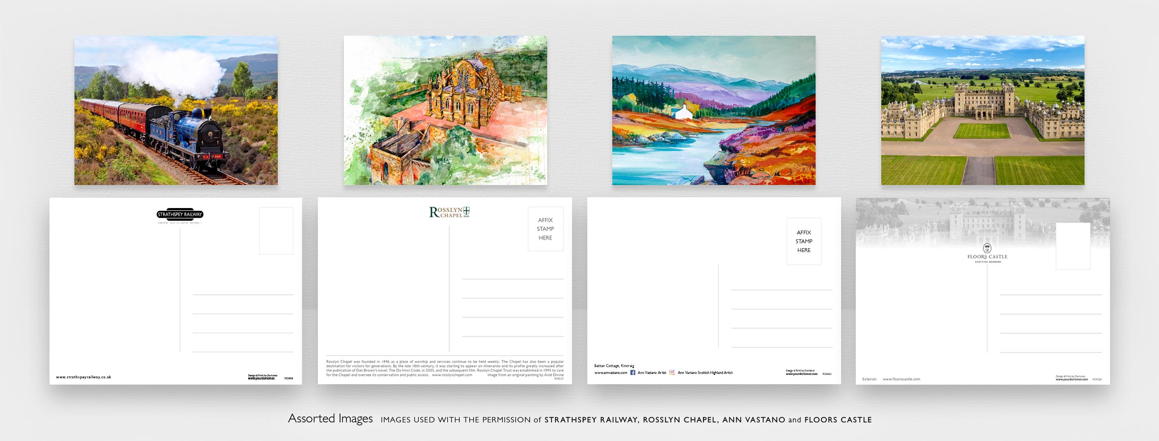 The front and back of four different postcards created for Tourist Attractions in Scotland